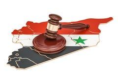 Деревянный молоток на карте Сирии, перевода 3D Стоковая Фотография RF