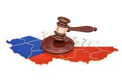 Деревянный молоток на карте чехии, перевода 3D Стоковое Изображение