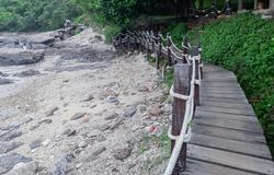 Деревянный мост вдоль seashore Стоковые Фотографии RF
