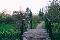 Деревянный мост в зеленом парке Стоковые Фотографии RF