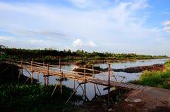 Деревянный мост в провинции Бен Tre, перепаде Меконга Стоковая Фотография