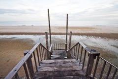 Деревянный мост к морю Стоковое фото RF