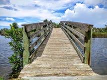 Деревянный мост над водой Стоковое фото RF