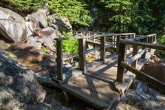 Деревянный мост над идущим рекой на тропе стоковые изображения