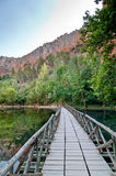 Деревянный мост над озером в горах Стоковая Фотография RF