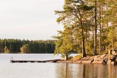 Деревянный док на скалистом береге с соснами на нордическом озере Стоковые Фото