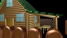 Деревянный дом, анимация Стоковая Фотография RF