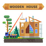 Деревянный дом в лесе Стоковые Изображения RF