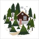 Деревянный дом в coniferous лесе иллюстрация вектора