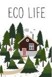 Деревянный дом в coniferous лесе иллюстрация штока
