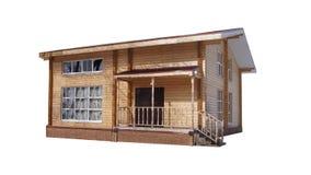 Деревянный дом на белой предпосылке Стоковое фото RF