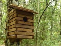 Деревянный дом птицы с мечт улавливателем Стоковые Изображения RF