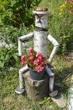 Деревянный орнамент с цветками Стоковое Изображение