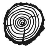 Деревянный отрезанный значок, простой стиль бесплатная иллюстрация