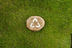 Деревянный отрезок на траве и рециркулирует символ Стоковое Фото