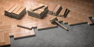 Деревянный партер положенный на пол Концепция конструкции и реновации дома бесплатная иллюстрация