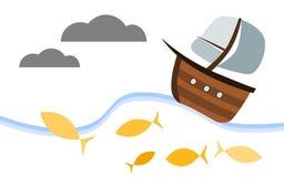 Деревянный парусник стиля шаржа иллюстрация штока