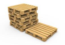 Деревянный паллет изолированный на белой предпосылке Стоковая Фотография RF