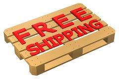 Деревянный паллет с бесплатной доставкой слов, на белой предпосылке иллюстрация штока