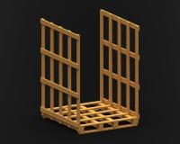 Деревянный паллет с 2 бортовой рамкой, 3d представляет Стоковые Фото