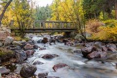 Деревянный пешеходный мост над потоком Стоковая Фотография RF