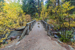 Деревянный пешеходный мост над потоком Стоковое Изображение
