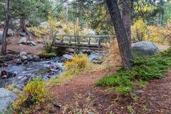 Деревянный пешеходный мост над потоком Стоковое Фото