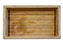 Деревянный поднос с горизонтальной картиной на деревянном столе Стоковые Изображения