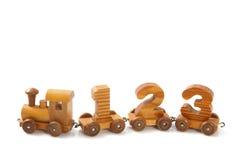 Деревянный поезд 123 Стоковое Изображение