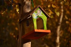 Деревянный покрашенный дом для птиц стоковое фото rf
