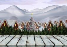 Деревянный пол с предпосылкой темы рождества Стоковые Фотографии RF