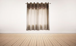 Деревянный пол и белая стена с занавесами, внутренний пустой космос Стоковая Фотография
