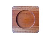 Деревянный поднос чашки изолированный на белизне Стоковое фото RF
