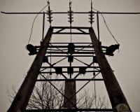 Деревянный поляк электричества, Уилтшир, Англия Стоковые Фотографии RF