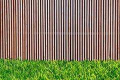 Деревянный предкрылок стены с зеленой травой с космосом экземпляра Стоковые Фото