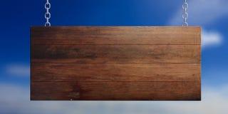 Деревянный пустой знак изолированный на предпосылке голубого неба иллюстрация 3d иллюстрация вектора