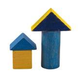 Деревянный ретро голубой кирпич игрушки журнала изолированный на белизне Стоковое фото RF