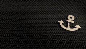 деревянный символ 3d значка анкера представить бесплатная иллюстрация