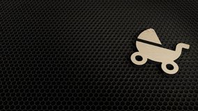 деревянный символ 3d значка детской дорожной коляски представить бесплатная иллюстрация