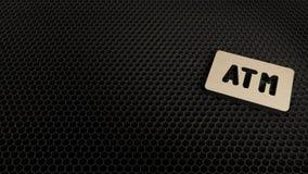 деревянный символ 3d значка знака atm представить иллюстрация штока