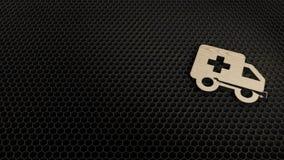 деревянный символ 3d значка машины скорой помощи представить иллюстрация штока