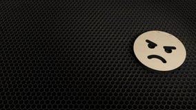 деревянный символ 3d сердитого значка представить иллюстрация вектора