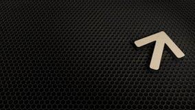 деревянный символ 3d стрелки вверх по значку представить иллюстрация вектора