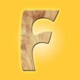 Деревянный символ письма алфавита партера - f белизна изолированная предпосылкой Стоковое Изображение RF
