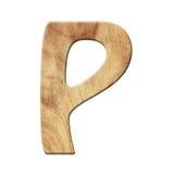 Деревянный символ письма алфавита партера - p белизна изолированная предпосылкой Стоковые Изображения