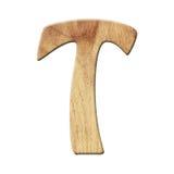 Деревянный символ письма алфавита партера - t белизна изолированная предпосылкой Стоковые Изображения