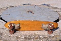 Деревянный скейтборд доски конька 70's Стоковая Фотография