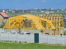 Деревянный скелет крыши дома Стоковое Фото