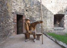 Деревянный солдат на замке Conwy, Уэльсе Стоковое фото RF