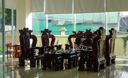 Деревянный стол и стулья, китайский стиль Стоковое Изображение